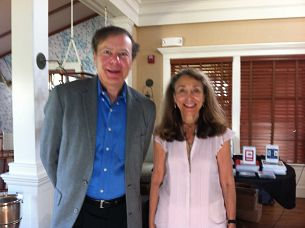 Larry with one of his hosts, Meryl Bralower, in Nantucket