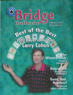 2003 February ACBL Bulletin Cover Showing Larry who was the ACBL Player of the Year