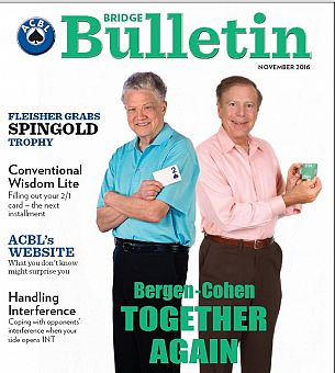 Larry and Marty on Bridge Bulletin Cover November 2016