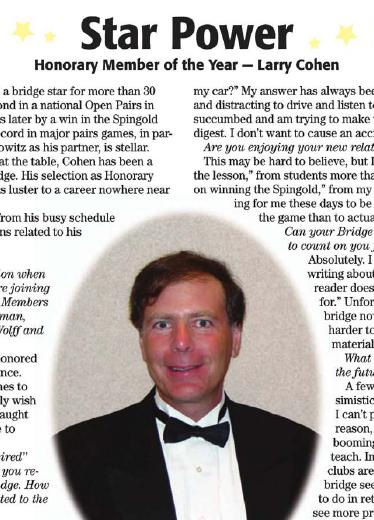 ACBL article on 2011 Honorary Member of Year